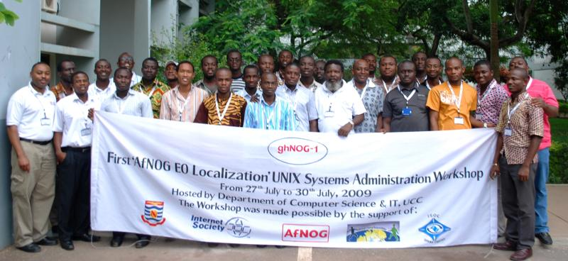 Group picture of participants at the First AfNOG EO localization workshop held at the University of Cape Coast